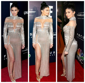 dress,slit dress,gown,prom dress,pumps,kylie jenner,golden globes 2017,silver,shoes