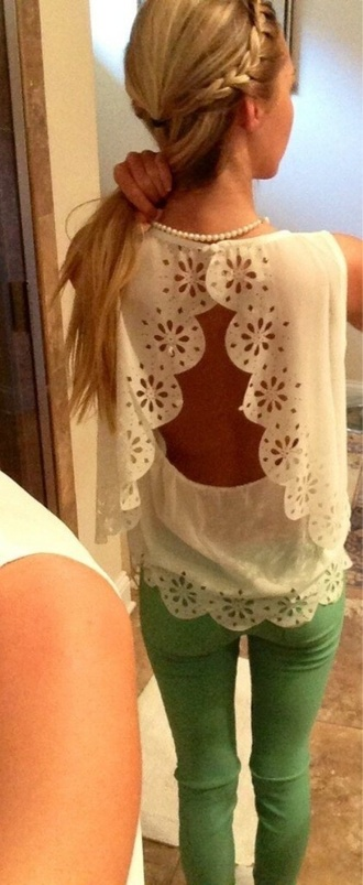 blouse cute cut-out shirt lace clothes backless back white scalloped shirt open back