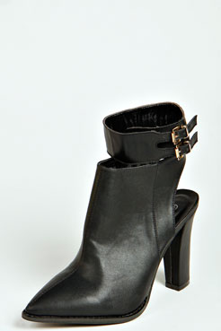 Evie Pointed Toe Buckle Cuff Open Back Boot at boohoo.com