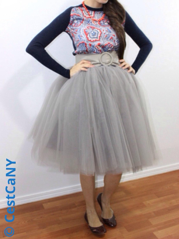SALE Ciara Gray Tulle Skirt / 6-Layers Puffy Tutu / Silver Swiss Tulle Princess Tutu / Knee Length Midi Tutu
