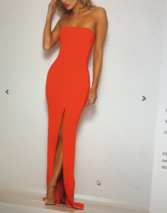 dress abyssbyabby orange strapless formal slit