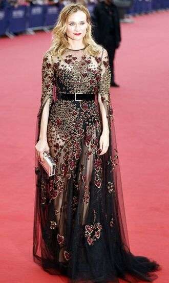 dress gown heart belt prom dress long prom dress see through see through dress diane kruger red carpet dress red carpet
