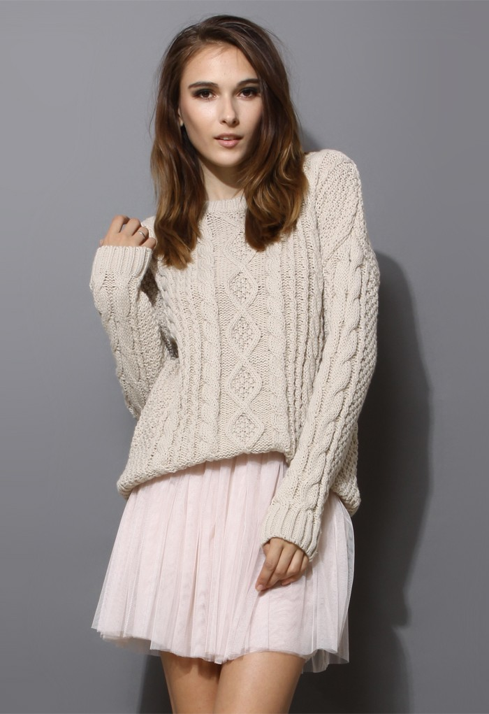 white Sweater - Ivory Chunky Cable Knit Sweater | UsTrendy