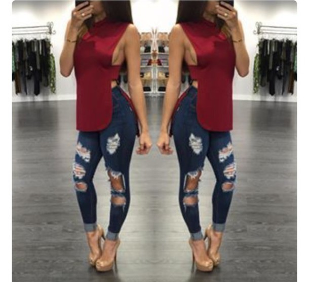 Shirt: cut-out, heels, red, ripped jeans, red shirt, blouse, red ...