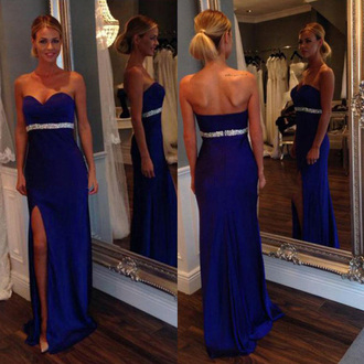 dress formal gown prom strapless beautiful fashion style homecoming dress slit dress vanessawu