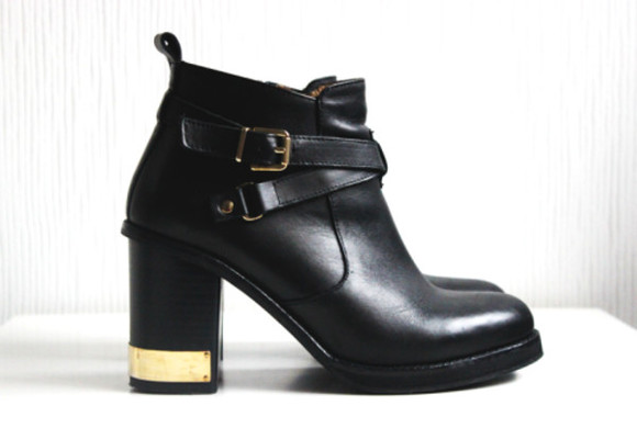 tumblr shoes boots leather black ankle boots