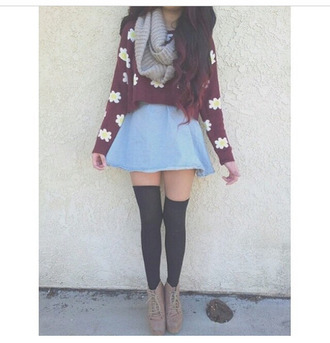 daisy sweater denim skater skirt black thights grey knitted scarf