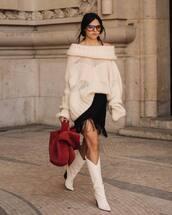 skirt,tassel,midi skirt,white boots,cowboy boots,handbag,oversized sweater,off the shoulder,sunglasses