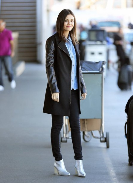 victoria justice fall outfits black coat coat