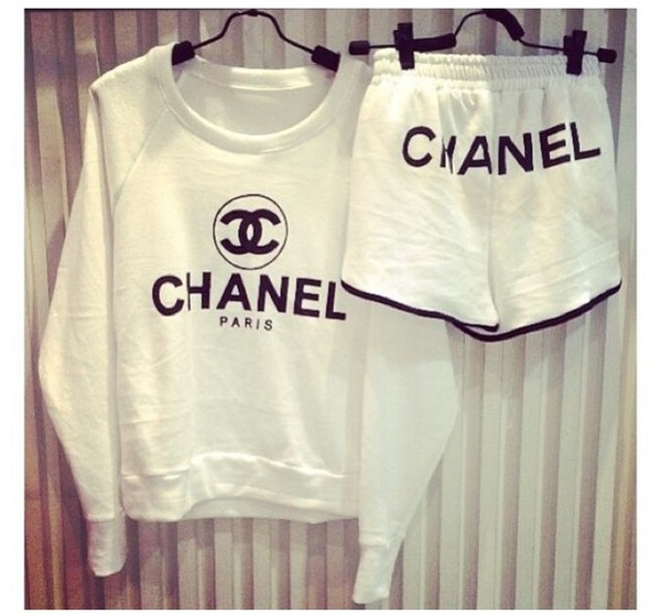 shorts chanel sweater short track suit white chanel