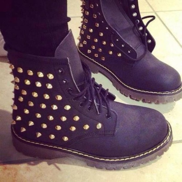 shoes studs black boots gold wheretoget