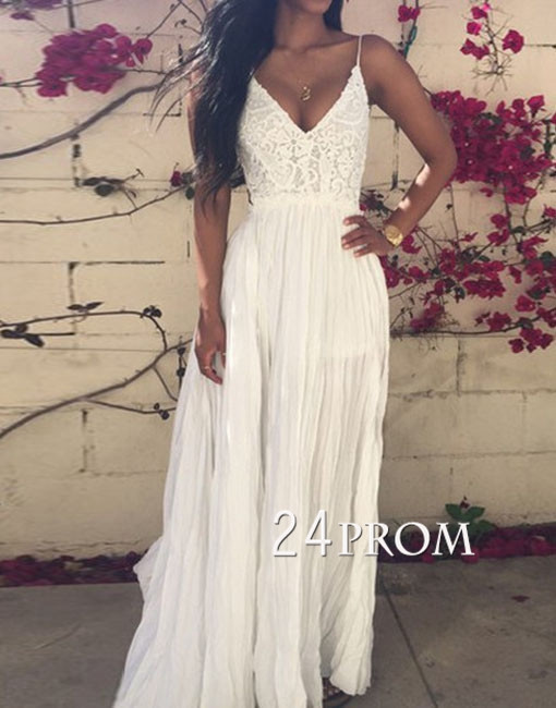 1286e3562af White A-line Chiffon Lace Backless Long Prom Dress,Formal Dress - 24prom