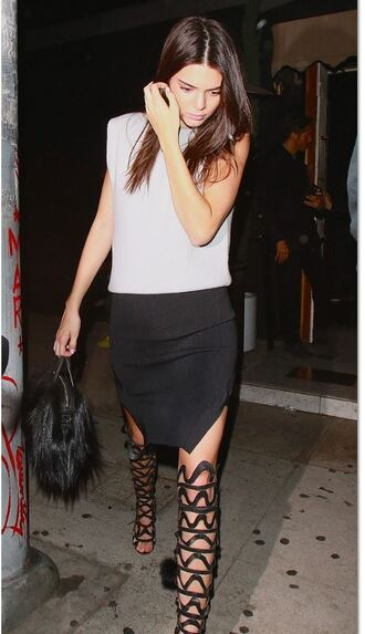 top pencil skirt kendall jenner gladiators knee high gladiator sandals kardashians
