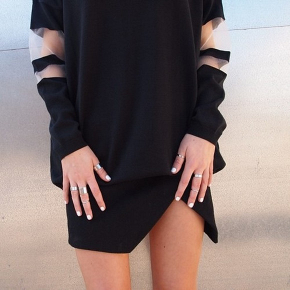 black top black sweater black sweater skort skirts rings mesh sleeves black skort sweatshirt