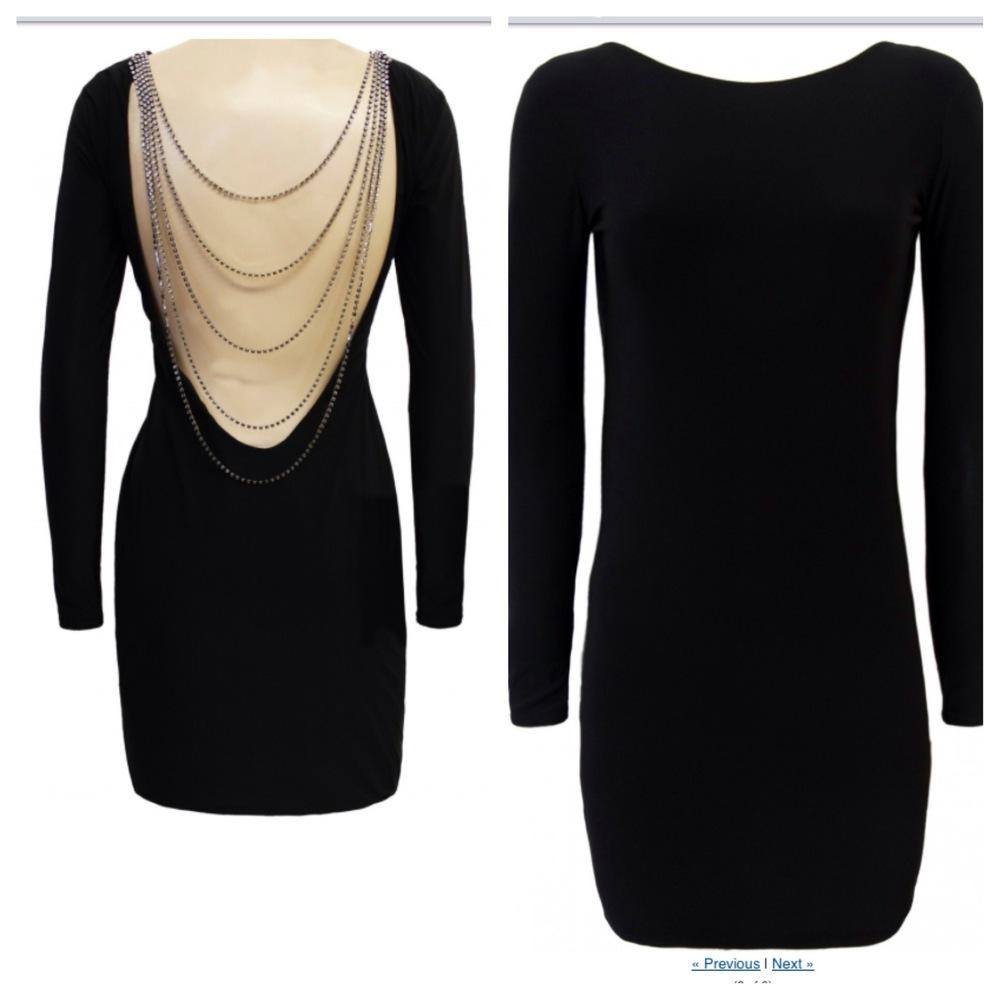 Stunning Diamante Chain Black Cowl Back Dress  | Chelle D Boutique