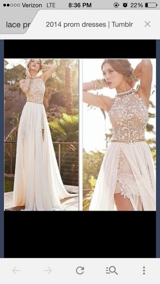 slit dress beige dress lace dress prom prom dresses 2014 floral dress elegant
