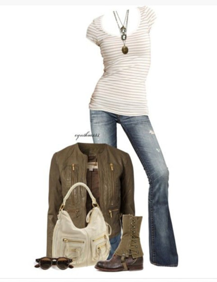 jeans clothes jacket zippers outfit shirt top cap sleeves scoop neck low scoop neck form fitting striped stripes cream necklace pendant coat leather jacket bronze green bronze green jacket bag purse tope bag sunglasses boots shoes shin high boots ankle wrapped boots