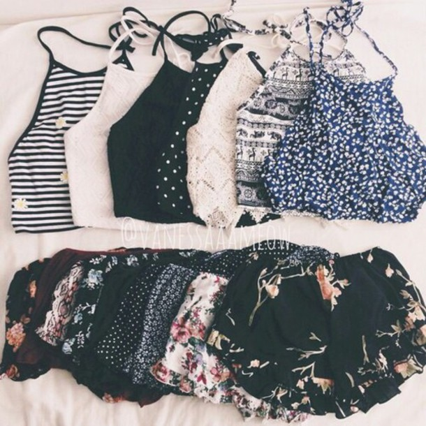 top hipster tumblr crop tops shorts tank top shirt white black cute no sleeve floral necklace collar floral tank top boho boho shirt tribal pattern tribal print shorts pretty grunge top hippie crop tops blue pants outfit victoria's secret summer top halter top style flowers shirt fashion top summer shorts two-piece trendy blouse polka dots stripes