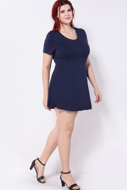 Dress Plus Size Dress Red Hair Casual Dress Dark Blue Dress