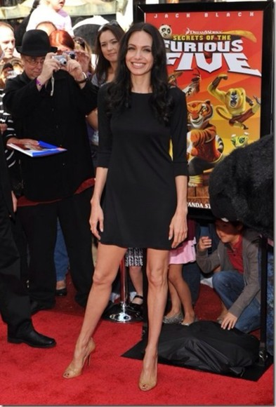 dress angelina jolie black long sleeve dress casual