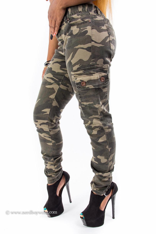 Camouflage cargo skinny denim jeans