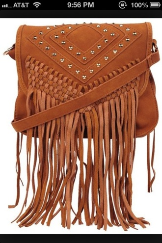 bag brown cross body purse fringes stud cute