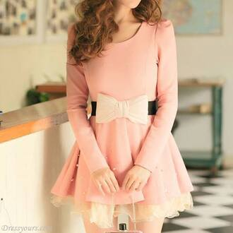 dress pink dress bow pink bow pink bow dress bow belt pink belt pink bow belt koreean fashion korean dress pink korean dress bow dress