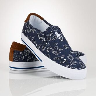 shoes paisley bandana print blue formal sneakers ralph lauren femme