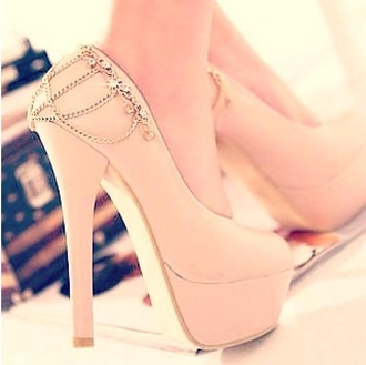 shoes light pink chain high heels baby pink