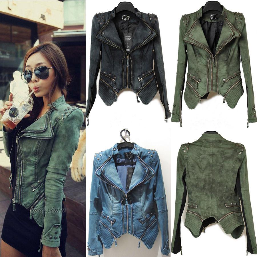 Womens punk studded peak power shoulder denim jeans tuxedo coat blazer jacket