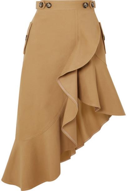 Self-Portrait - Asymmetric Ruffled Cotton-canvas Skirt - Camel