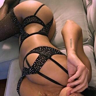 underwear lingerie set black glitter bodysuit