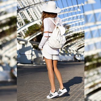 madame julietta blogger hat white top alexander wang white backpack white shorts shoes bag shorts jacket white backpack all white everything