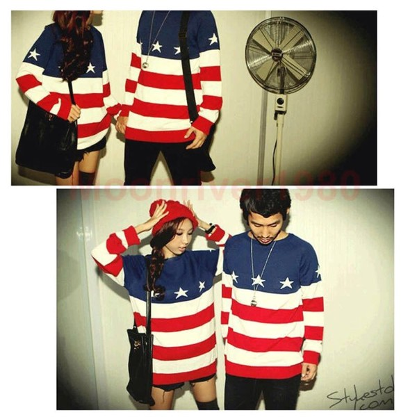 Men Women Lovers Couple USA American Flag Star Knit Sweater Outerwear Pullover | eBay