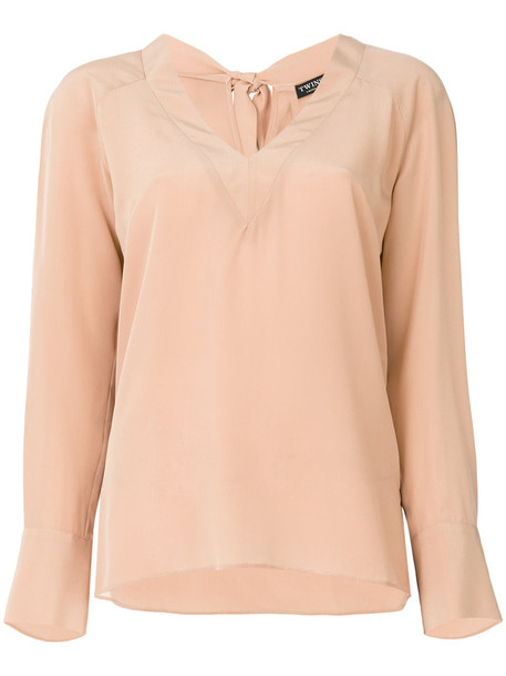 blouse women classic silk purple pink top