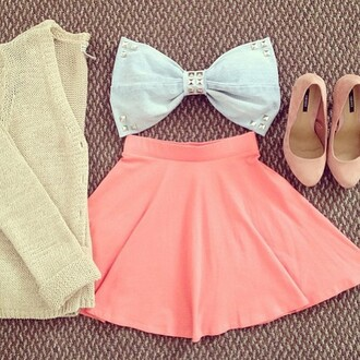 top pastel pink blue cardigan heels cute girly baby blue tan skirt skater skirt tumblr outfit tumblr