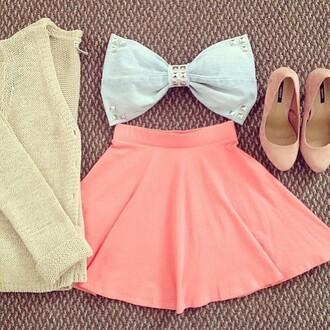 top pastel pink blue cardigan heels cute girly baby blue tan skirt skater skirt tumblr outfit tumblr
