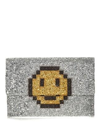 glitter smiley clutch silver bag