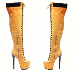 Timberland inspired thigh high boot tan (pre