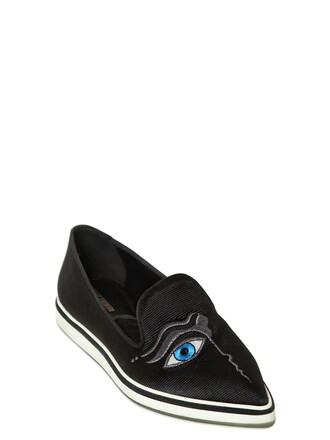 embroidered loafers silk black shoes