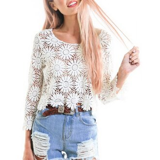 top lace fashion style summer long sleeves cool casual girly trendy rose wholesale dec rose wholesale-dec