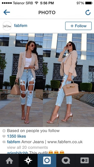 jeans blouse jacket shoes