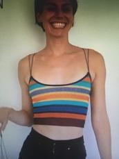tank top,horizontal stripes,spaghetti strap,double strap,multicolor,crop tops,top,stripes,multicolour top