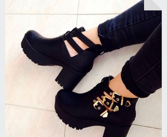platform shoes cut out ankle boots boots