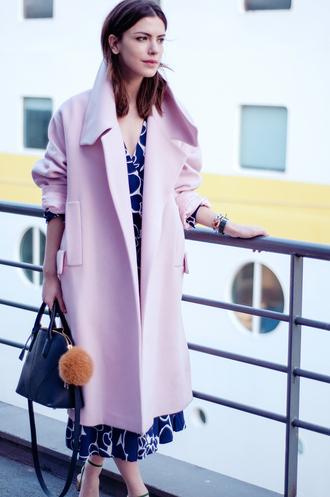 maritsa blogger pastel pastel pink pink coat patterned dress midi dress handbag