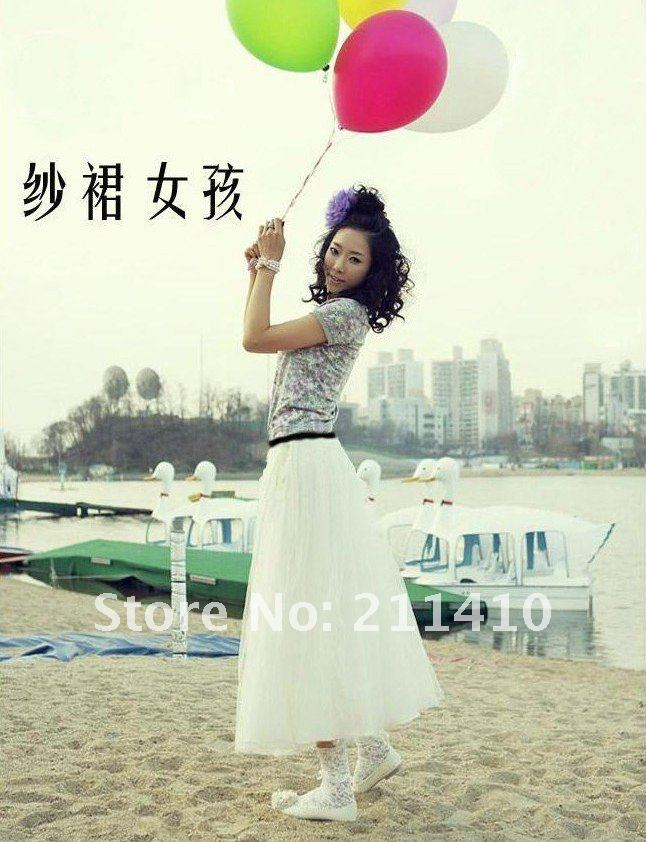 Free shipping 3 layers voile tulle skirts bohemian  pleated gauze skirt 75cm lenght high quality
