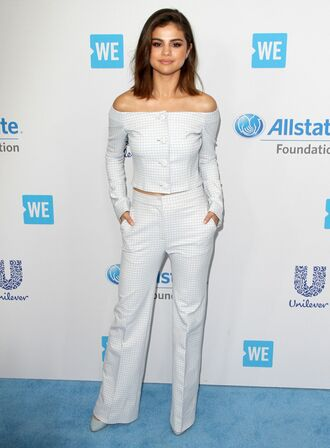 top off the shoulder off the shoulder top blouse two-piece selena gomez suit pants