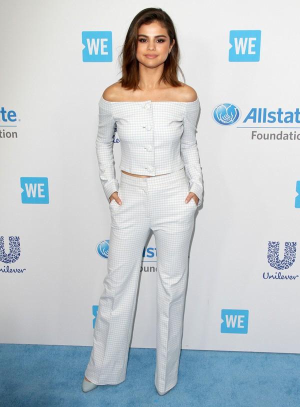 top off the shoulder off the shoulder top blouse two-piece selena gomez suit pants
