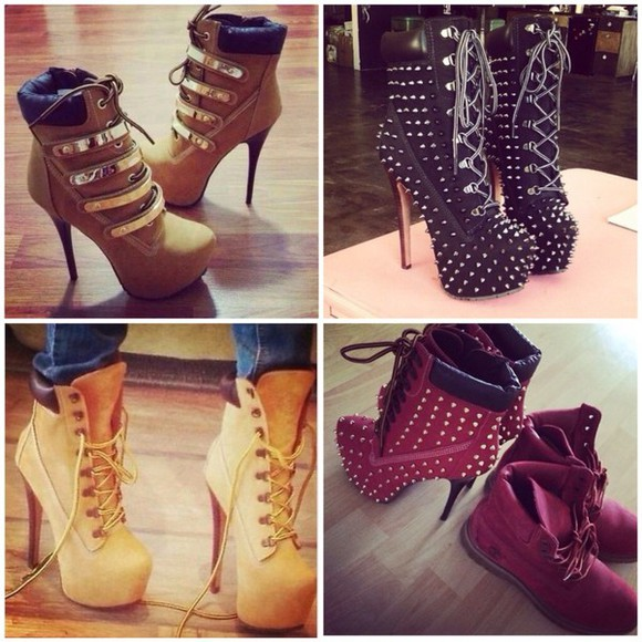 black heels style streetwear streetstyle boots hot summer outfits winter boots winter outfits lace up classy studs timberlands heels timberlands diamonds black boots menswear mens shoes