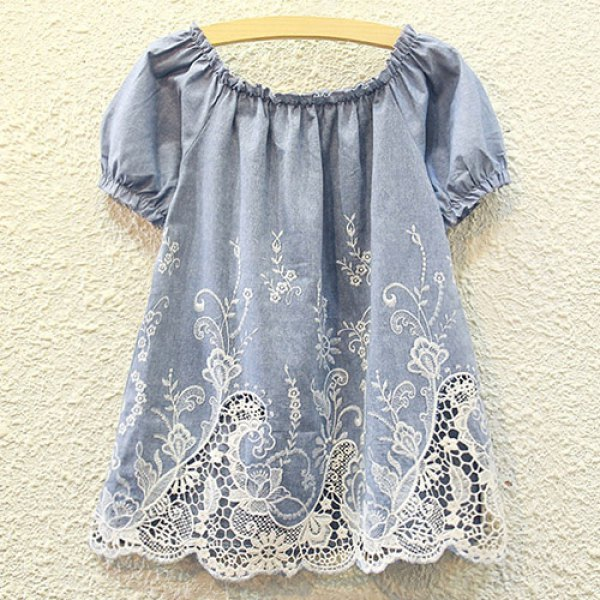 Cute Round Collar Short Sleeve Lace Design Hollow Out Embroidered Women's Blouse